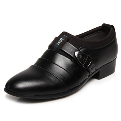 ISABLE Brand-Men's formal business casual leather shoes soft upper young British fashion men's shoes black 38 cowhide