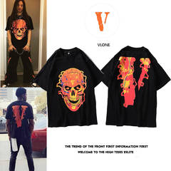 ISABLE -European and American Tide VLONE Skull Flame Big V Short Sleeve T-shirt for Men and Women black m cotton