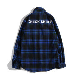 ISABLE -European and American fashion brand OFF OW WHITE men's and women's leisure red checked blue m