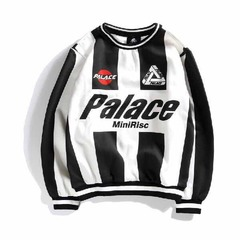 ISABLE -European and American Street PALACE Lovers Striped Baseball Suit, Hip-hop Loose Tide Guard white 170/84a M