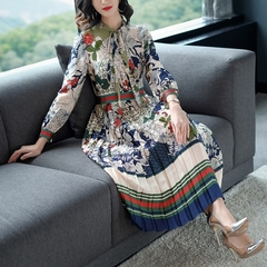 ISABLE New Womens Dresses Printing Vintage Elegant Long Sleeve Tie Bow Holiday Pleated Long Skirts s s 1