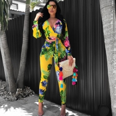 ISABLE Brand-Sexy Deep V Printed Long Sleeve Tight Bottom Pants Two-piece Set s 1