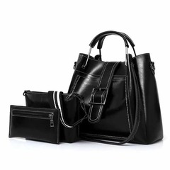 ISABLE Three-piece Mother Bag Set European and American Fashion Women's Single Shoulder Slant Bag black 32*13*34