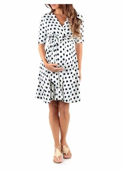 ISABLE Brand-INS Sells New Printed Pregnant Women's Dresses for Summer in Europe and America in 2019 s white