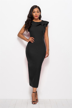 ISABLE Brand-INS European and American   Lotus Leaf Side Sleeve Stacked-collar Long Skirt Dresses s black