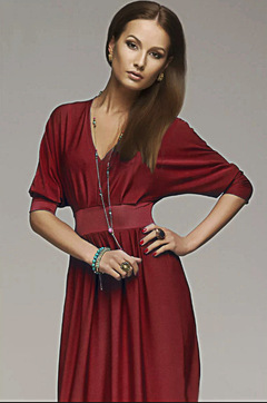 ISABLE Brand-New V-neck Bat Sleeve Pure Color Slim Dress Temperament Party Dress Long Skirt s red