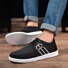 ISABLE - men's leisure shoes, canvas shoes, men's black work shoes, tidal shoes and single shoes black 39 cowhide