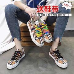 ISABLE Brand-New rainbow Plaid canvas shoe student Khaki ulzzang Plaid shoe retro shoe woman picture color 35