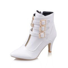 ISABLE Brand-Belt buckle boots, large size boots, tips, Roman boots white 34