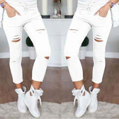 ISABLE Brand-INS hot Large Size S-5xl women's wear hollow leisure pure cotton nine-cent pencil pants white s