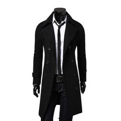 ISABLE   New Mens wool coat men Double-breasted Mens Overcoat Long Sleeve Men Coat Winter Slim Solid black m
