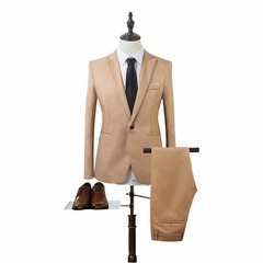 ISABLE  Autumn high-end custom business blazers TWO piece / Slim large size multi-color boutique Khaki 3xl