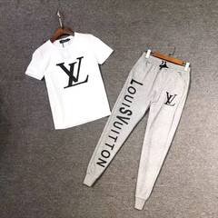 ISABLE -LOUIS VUITTON (LV ) Men's Summer and Small Same Short Sleeve T-shirt and Slim Casual Pants Grey pants + white T s(35-45)kg