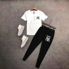 ISABLE INS HOT MLB Suit Men's Summer  Same Short-sleeved T-shirt + Slim Casual Pants Two-piece Suit black pants + white t s(35-45)kg