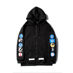 ISABLE-OFF WHITE Tide Emblem Printing Couple Tide Men's and Women's Hoodies and Fleece Sanitary black xs