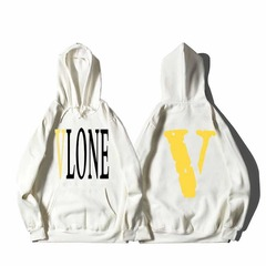 ISABLE-VLONE LIFE Furry Edge Big V Plush Sanitary Wardrobe Stars with the Same Men's and Women's White and yellow s