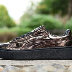 ISABLE PUMA Basket Platform Badminton Shoes Womens Trainers Sneakers Rihanna Thick Bottom Sneakers Bronze 35
