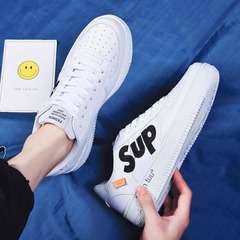 ISABLE-INS Fashion Slipper Student Shoes Air-breathable Men's Shoes Air Force One white 39