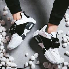 New sports shoes shock shoes fashion shoes lace men's shoes thick sole breathable shoes. white 39
