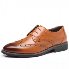 Business casual men's shoes Bullock carved men's suit office men's leather shoes. yellow 48 superfiber