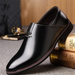 New men's shoes business casual shoes men's single shoes casual leather shoes. black 44 normal