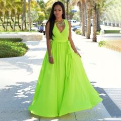 Women's Sexy Dresses Flowing Beach Skirt Deep V-neck split Chiffon Dress xl Light green
