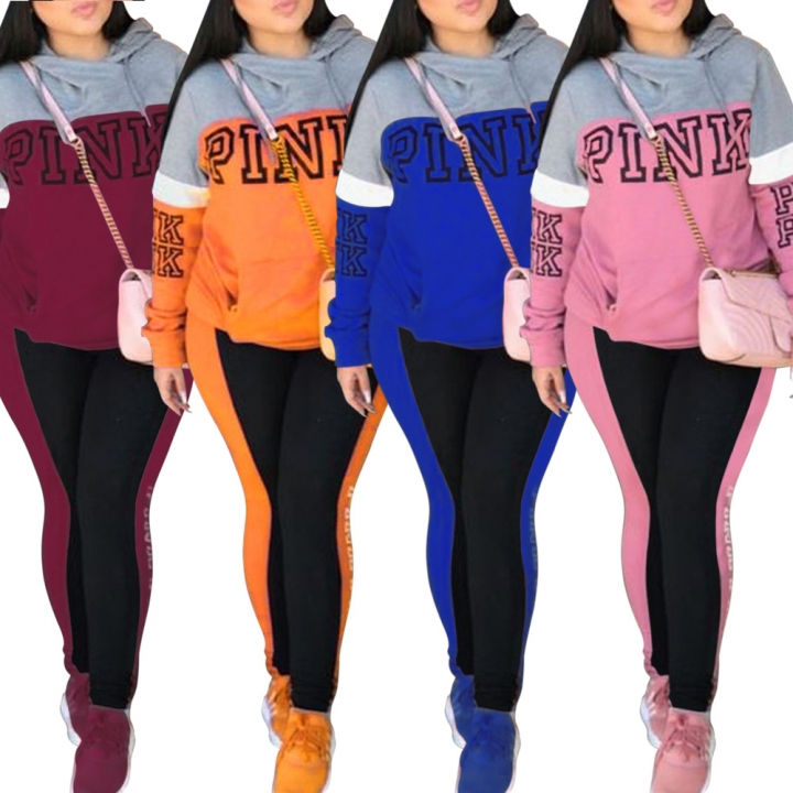 Women's Sexy English Print hoodies suit two piece sportswear dress and casual wear blue S