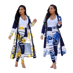 Fashionable Women's Suits Digital prints Capes Trousers Casual Suits blue xxl