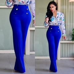 Women's fashion New flared trousers slim personality double row button suit pants and casual pants blue m
