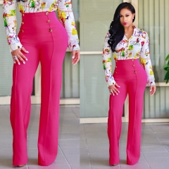 Women's fashion New flared trousers slim personality double row button suit pants and casual pants Rose red xl