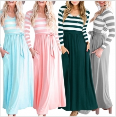Stripe women's casual dress Round neck Lacing Long sleeve Student long skirts s pink