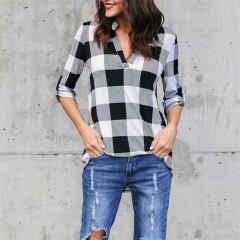 New European Womens Plaid Shirt Printed V collar Long Sleeve Loose Casual Student Tops white s