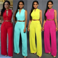 Women's fashion single breasted high waist belt wide leg pants jumpsuits red s