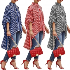 New fashionable dress women's shirt stripe print is casual in long style Big skirt is placed red s
