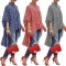 New fashionable dress women's shirt stripe print is casual in long style Big skirt is placed red xl