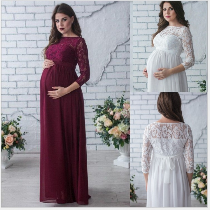 f2ff76076b6f Long-sleeved lace maternity sexy loose trailing skirts maternity dresses  white S