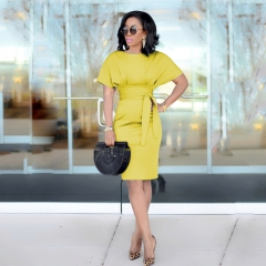 New Fashion Sexy  Business Dresses Solid color Short sleeves Women's Middle skirts s yellow
