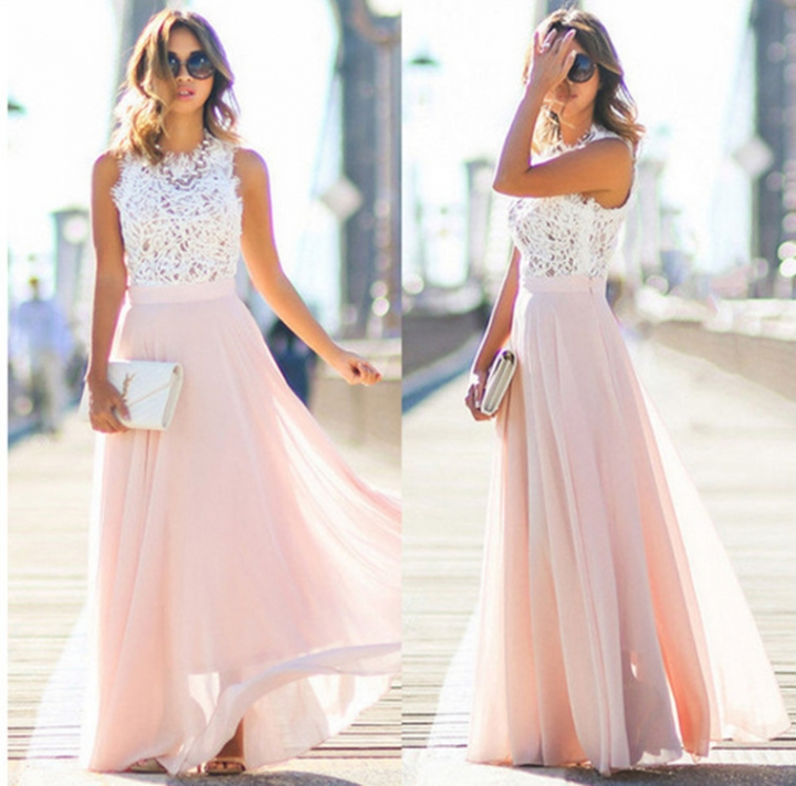 New Fashion Women's Dress Lace skirt Patchwork Chiffon Sleeveless Pure Long Dress s pink