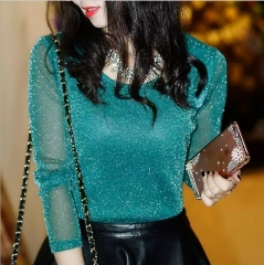 Women t-shirt Long Sleeve maxi  Lace net yarn New Fashion Bright Silver Silk Tide Tops for ladies Peacock color s