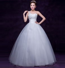 New fashion bride wedding dress One - shoulder white yarn flat waist show thin sexy s white