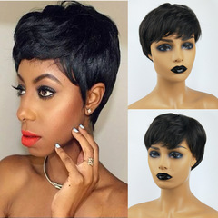 One - 1 piece New Fashion Lady's Black Short Wig Headset business female Beauty Wigs black one size