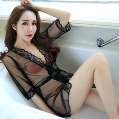 Womens Sexy Lingerie V-neck Transparent Career Temptation Medium Length Shirt Ladies Mesh Pajamas black one size
