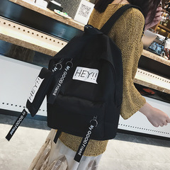 New women backpack simple outdoor leisure large bag college wind Student schoolbags black canvas