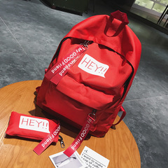 New women backpack simple outdoor leisure large bag college wind Student schoolbags red canvas