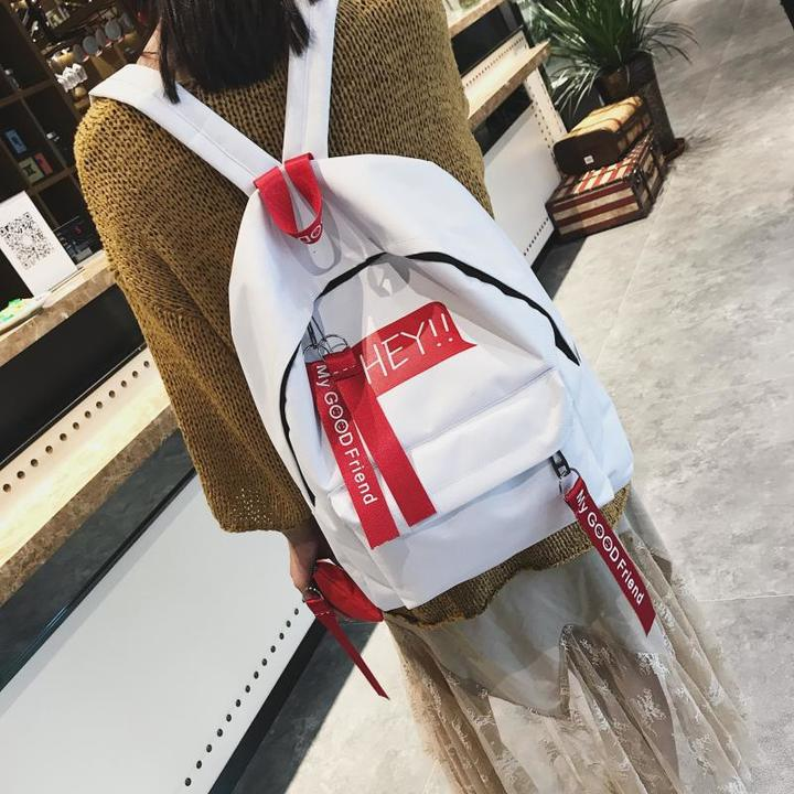 New women backpack simple outdoor leisure large bag college wind Student schoolbags white canvas