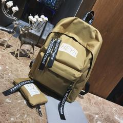 New women backpack simple outdoor leisure large bag college wind Student schoolbags dark khaki canvas