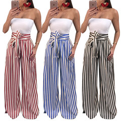 European Womens Sexy Wide Leg Pants Outdoor Fashion Casual Striped Slacks Trousers black s