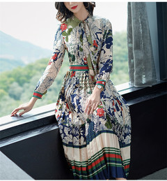 New Womens Dresses Printing Vintage Elegant Long Sleeve Tie Bow Holiday Pleated Long Skirts m as picture