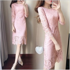 New Womens Lace Dress Korean Round Collar Long Sleeves Solid Color Slim Hollow Medium - Long Skirts s pink