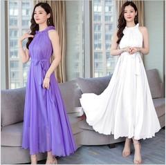 New Woman Chiffon Halter Dresses Beach Resort Fairy Bohemian Sleeveless Pure Color Belts Long Skirts one size white